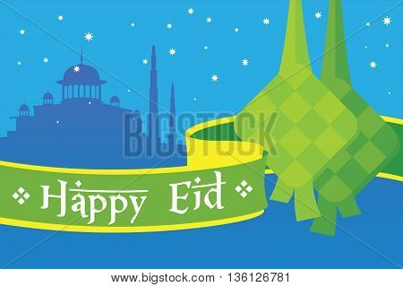 Happy Eid mubarak greetings and celebrate concept vector