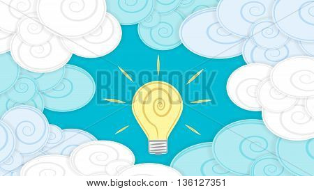 Abstract background image with clouds and light bulb material design