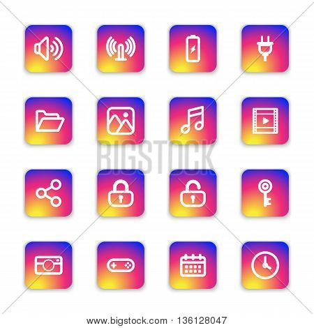 white line web icon set on colorful smooth gradient rounded rectangle with soft shadow for web design user interface (UI) infographic and mobile application (apps)