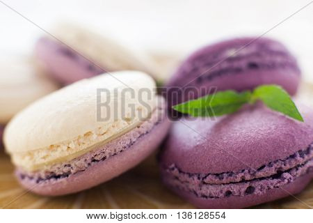 Macaroon French Cookie Purple Confectionary Sweet-stuff Ratafia Sweets Concept
