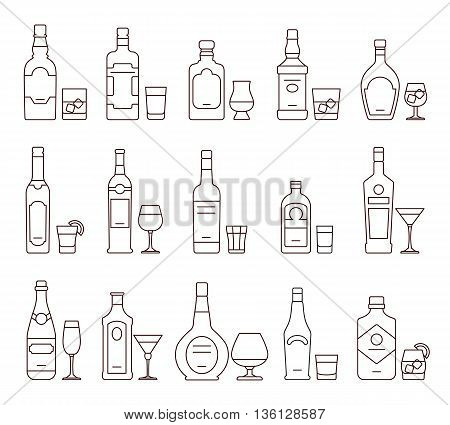 Alcohol drink beverages outline icons, bottles and glasses thin line symbols. Beverage alcohol bottle and glass, illustration set of beverage
