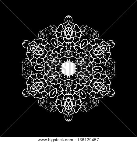 Oriental vector black and white mandala. Round design element for carpets shawls and any surface. Template for ornament.