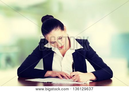 Beautiful attractive corporate lawyer business woman.