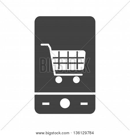 Shopping, mobile, online icon vector image. Can also be used for shopping. Suitable for use on web apps, mobile apps and print media.