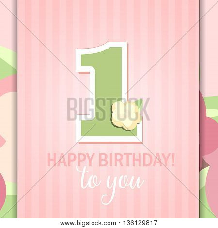 Happy First Birthday Anniversary card with roses