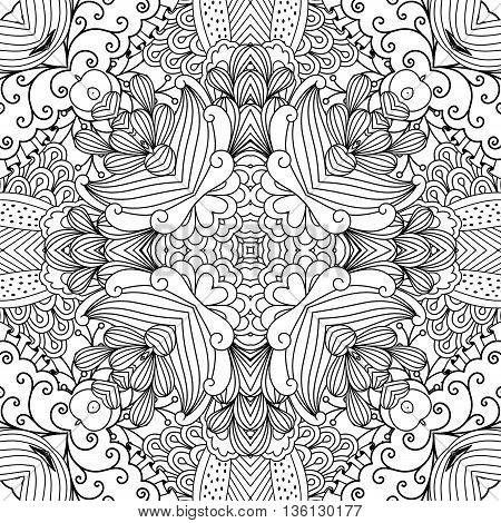Pretty kaleidoscope background with floral designs and other geometric elements