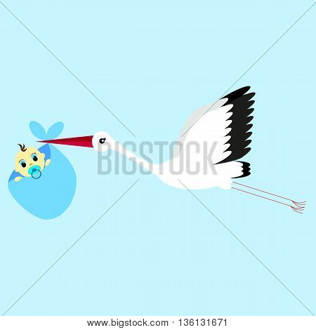 cartoon vector illustration of a stork delivering a newborn baby boy