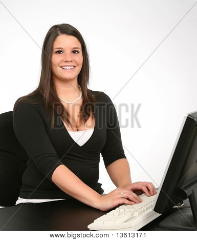 Happy Employee On Computer