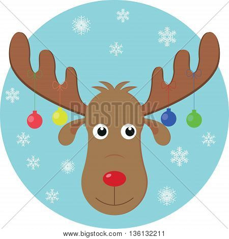 Deer with Christmas ball on a blue background with falling snowflakes
