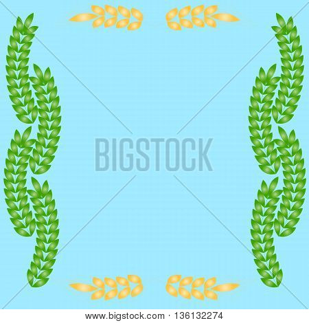 Floral and wheat ears borders design with copy space, greeting card or template with space for text