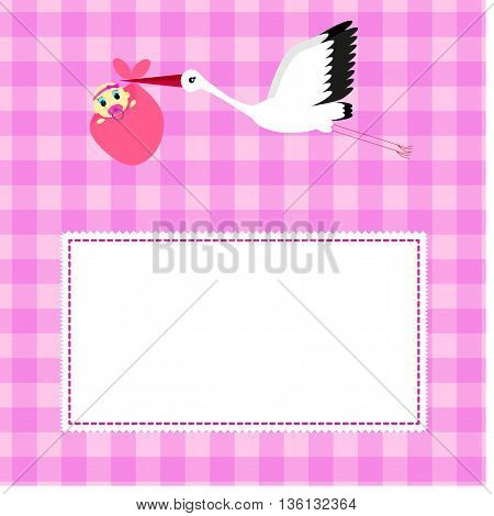 greeting card for birthday girl, pink background in a cage
