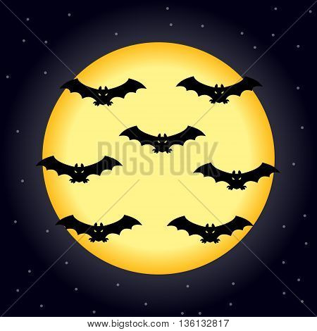 moon on Halloween with bats on a blue background