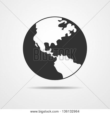 Black and white vector Earth globe isolated on white. Black simple scheme of the globe. Globe earth Icon Vector.