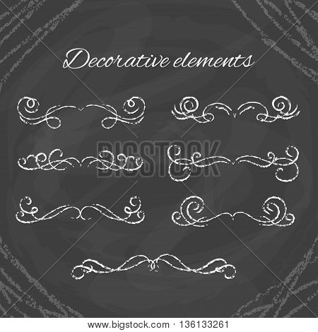 Hand drawn dividers set. Chalk dividers on blackboard. Ornamental decorative elements. Vector ornate elements design.