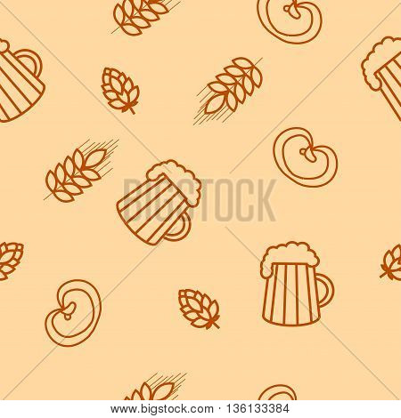 Seamless pattern of beers, ears, hop, pretzels. For packaging beer, bread and flour products in your cafe, bar, pub, tavern, brewery, restaurant. Natural organic packaging.