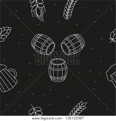 Seamless pattern of beers, ears, hop, pretzels against a black background. For packaging beer, bread and flour products in your cafe, bar, pub, tavern, brewery, restaurant. Natural organic packaging.