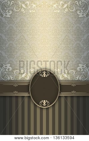Vintage background withdecorative borderframe and old-fashioned floral patterns.