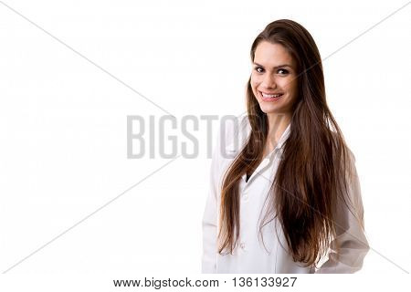 Medicine, pharmacy, health care and pharmacology concept, girl on white uniform