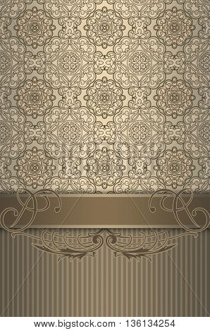 Vintage background with decorative border and old-fashioned ornament.