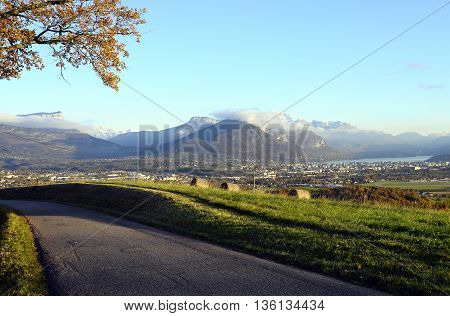 Large view of Annecy lake and mountains from Saint-Jorioz beach France