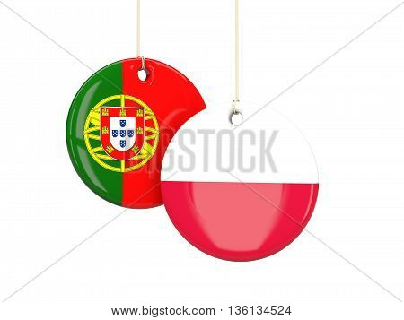 Poland And Portugal Soccer Teams Round Labes