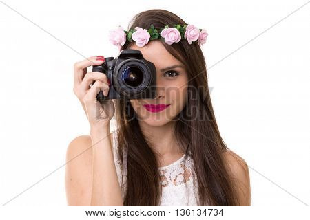 latina girl holding DSLR camera