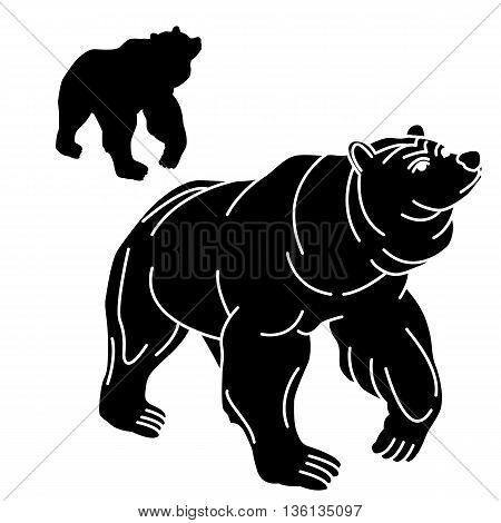 adult black bear silhouette set realistic grizzly