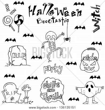 Halloween skull bat zombie tomb in doodle illustration