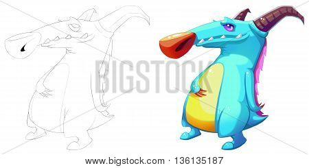 Coloring Book and Monster Creature Character Design Set 47 Horn Mouse Boss Dino Creature Monster isolated on White Background Realistic Fantasy Cartoon Style Character Story Card Sticker Design