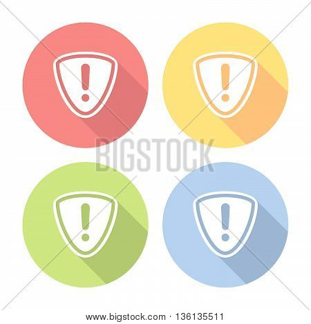 Web Protection Shield Warning Sign Flat Icons Set