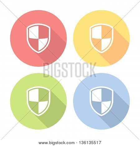 Shield Protection Emblem Flat Icons Set