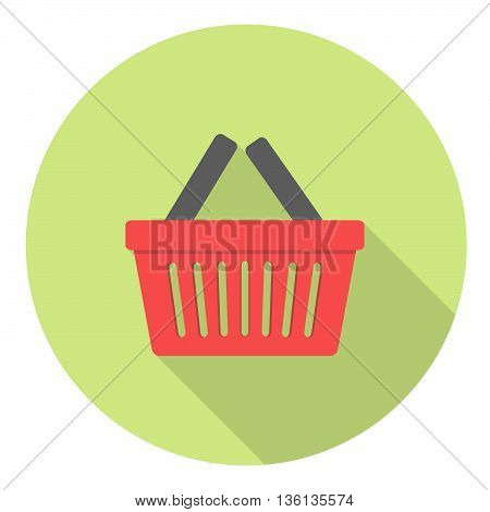 Shopping Sale Basket Flat Style Design Icon