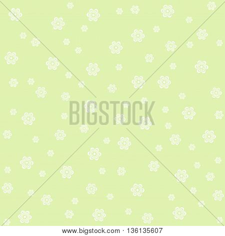 Vintage floral pattern on green background. Cute flowers.