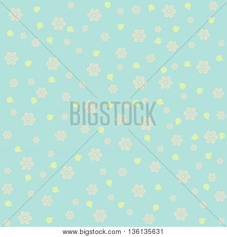 Wallpaper pattern with flowers on blue background