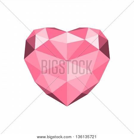 Triangular heart - vector illustration. Valentines day love greeting card with geometric red heart. Red heart on white background.