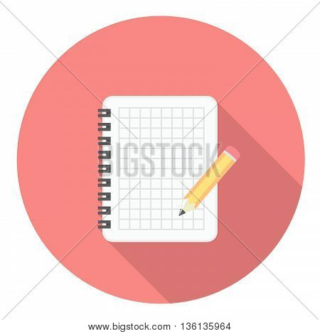 Notebook And Pencil Flat Icon