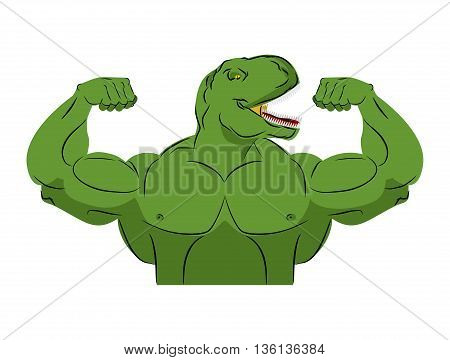 Dinosaur Strong Athlete. Angry Fitness Tyrannosaurus. Wild Animal Bodybuilder With Huge Muscles. Pre