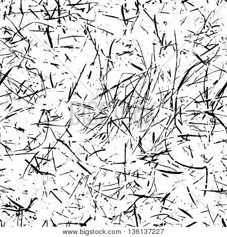 Vector scratched seamless background - endless dirty texture isolated on white backdrop