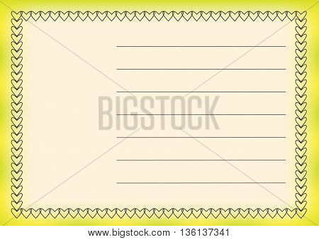 greeting card with hearts on an elegant background