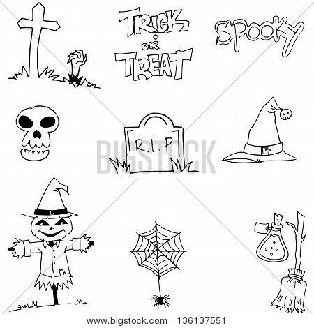 Halloween tomb scarecrow hat skull doodle vector illustration
