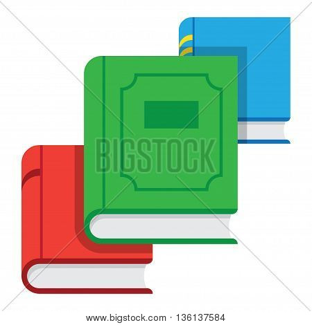 Pile of books icon in flat style. Stack of books icon. Pile of colored books.