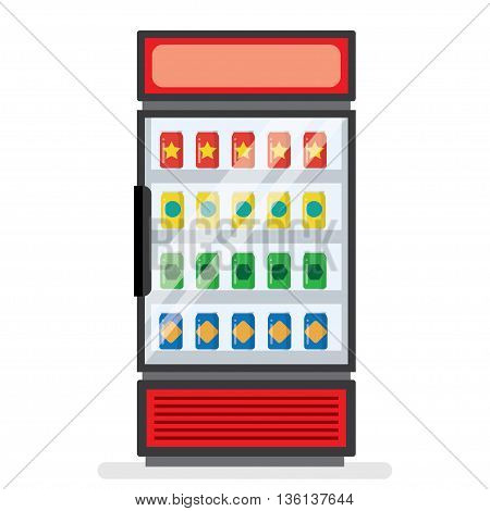 showcase refrigerator for cooling drinks on a white background