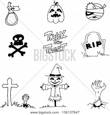 Halloween pumpkins scarecrow tomb in doodle on white backgrounds