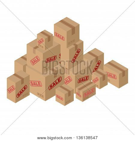 Sale Of Lot Of Cardboard Boxes. Set Of Paper Packaging For Goods. Many Shopping. Discounts On Goods.