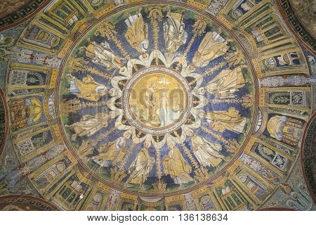 RAVENNA,ITALY-AUGUST 21,2015:front view of the particular inside of the San Apollinare church in Ravenna-Italy.