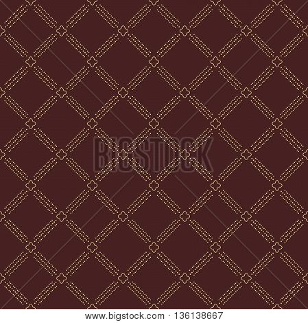 Geometric repeating golden ornament with diagonal dotted lines. Seamless abstract modern pattern