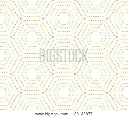 Geometric repeating ornament with hexagonal colored dotted elements. Seamless abstract modern pattern