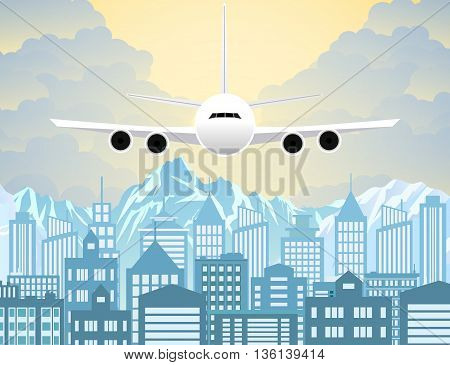 Morning city skyline. Buildings silhouette with windows cityscape with mountains. Big city streets. sky with sun and clouds. Plane flying over urban city. Vector illustration