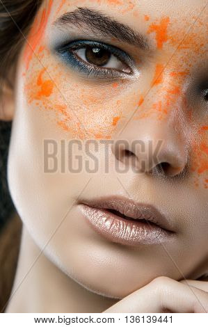 Close Up Fashion Portrait On Gray Background. Art Make Up