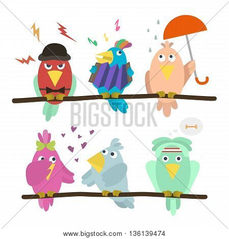 Funny emoticon birds sitting on a branch. Cartoon set of funny colorful cute birds. Each bird on his layer with a branch. Vector illustration